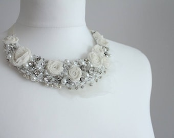 Bridal flowery necklace, bridal accessories, bridal piece with roses & rhinestones