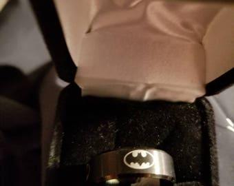 Black Stainless Steel Batman Ring