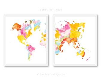 World Map Art Prints - Set of 2 Prints - Modern Map Wall Art - Nursery Wall Art - Office Wall Art - Travel Wall Art - 11x14 or 16x20