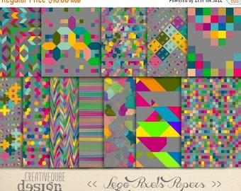 80% Off SALE Digital Scrapbook Papers - Digital Paper Pack - Lego Pixels