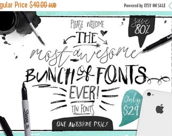 80% OFF 80 Percent OFF Sale, Big Bunch of Fonts - hand drawn digital typeface bundle for typography - Brush, script, display