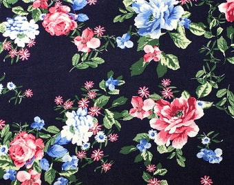Navy Blue Pink and Green Floral Rayon Spandex Jersey Knit Fabric, 1 Yard