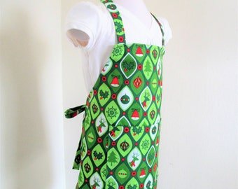Childrens SALE Christmas Apron - A Festive Christmas Green covered with Holiday cheer, kids apron, cooking apron, chefs apron, baking apron