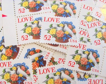 When Doves Cry 50 UNused Vintage US Postage Stamps 52c 1994 White Doves Love Birds Red Pink Roses Valentine's Save the Date Wedding Postage