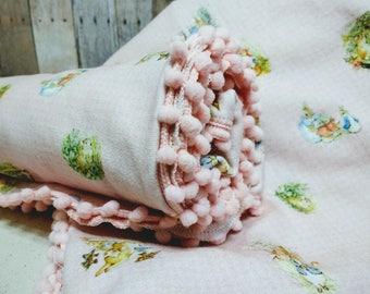 PETER RABBIT Blanket - Organic Cotton Knit Baby Blanket - Light Pink /Custom available - Beatrix Potter Blanket - Handmade Swaddling Blanket