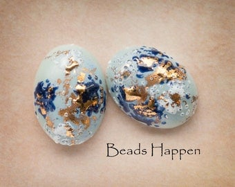 18x13mm with Blue, White and Gold Splatters Oval Cabochons Cabs, Flat Backs, Quantity 2