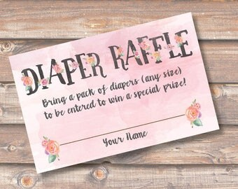 Pink Floral Watercolor Diaper Raffle Tickets Baby Girl Shower Diaper Raffle Cards Pink Twin Girls Diaper Shower INSTANT DOWNLOAD
