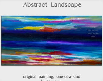 """sale 48"""" wall art  Passion of colors  Original Huge Surreal Abstract Impasto Texture Oil painting by Tim Lam"""