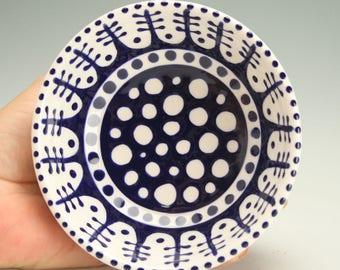 Footed Bowl - Dark Delft Blue Dessert Bowl, Trinket Holder, Candy Dish, Jewelry Bowl, Ice Cream Parfait Cup Ceramic Pottery Dinnerware