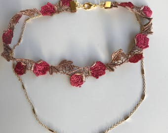Red rose choker set, lace choker and gold chain, choker necklace set of two