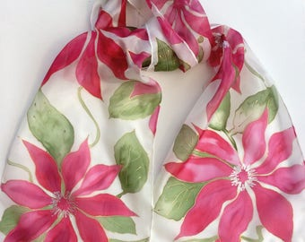 Red Clematis hand painted silk scarf.  Silk scarves hand painted. Red flower scarf.