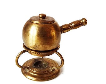 Rare Miniature Brass Chafing Dish/ Pot on Stand / Working  Collectible Dutch Made Dollhouse Decor/Kitchen Casserole  from Holland