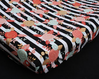 Fitted Crib Sheet/Changing Pad Cover/Mini Crib Sheet in Mint Coral Gold Roses on Black and White Stripes  -Mommy Moxie on Etsy