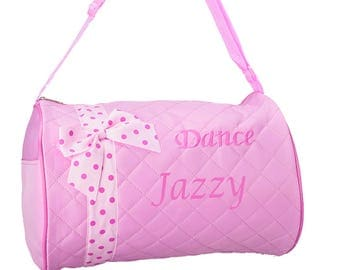 PERSONALIZED Dance Ballet Print Duffel Pink Quilted Gym Bag Tote