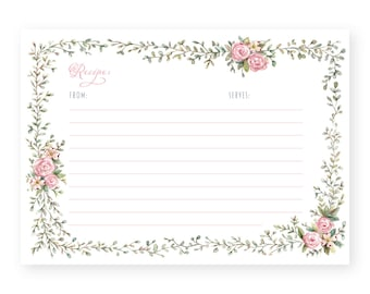 Floral Recipe Cards - Set of 20