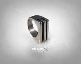 Ezi Zino Designers Hand Made Art Modern Straight Lines Solid Silver Sterling Ring
