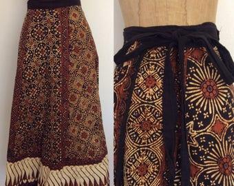 1970's Batik Cotton Wrap Skirt Size XS Small by Maeberry Vintage