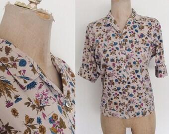 1950's Floral Cotton Button Up Top Purple Flower Print Button Up Shirt Size Large XL by Maeberry Vintage