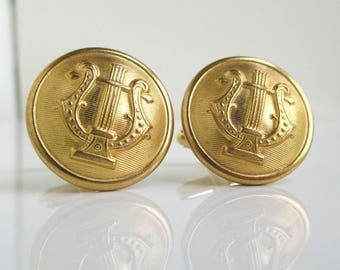 MUSIC Cuff Links - Repurposed Vintage Gold Metronome Music Buttons