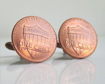 USA Coin Cuff Links - Shield One Cent Pennies, Repurposed US Coins