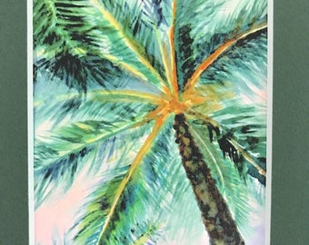 Palm tree watercolor print, beach decor watercolor giclee, Maui Hawaii art, matted 5x7 inches dark olive green matte, gift under 20 dollars