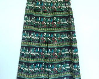 Vintage 70s tailored skirt with classical art print