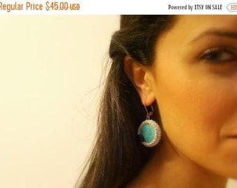 CIJ SALE Crochet Earrings, Turquoise, Silver Lame Cotton Yarn, Black Glass Beads, Silver Lever Back Hooks