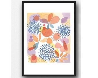 Wall Art, Colorful Watercolor Print, Watercolor Painting, Wall Decor, Kitchen wall art Floral art print, Giclee print
