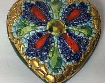 Vintage Italian Glass Hand Painted Gold Heart Box Roma