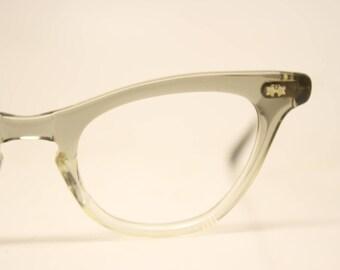 Vintage Gray Fade Cat Eye Glasses Frames New Old Stock