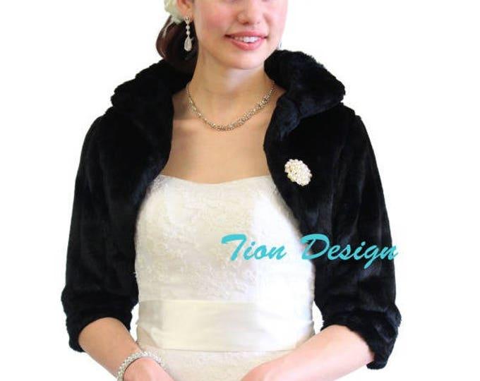 7 Days Sale Bridal fur bolero, Black Faux Fur Bridal Jacket, faux fur wrap, faux fur shrug, faux fur jacket, Wedding Jacket. 900MM-BLK