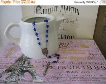 Stunning Vintage Rosary - Dark Blue Acrylic beads Crucifix Cross Nordic French