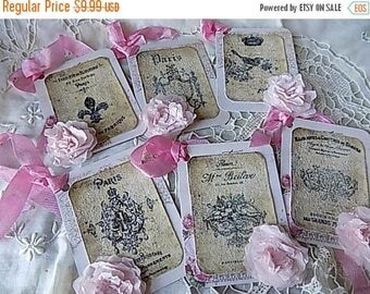 6 French Inspired Hang Tags Cottage Chic Gift Tag Black Pink Nordic French