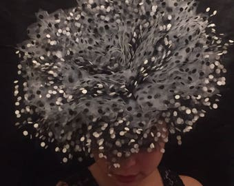 Black and White Tulle Polka Dot Fascinator