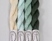 Linen Lace yarn, pure linen, 50 grams,  317 yards, green shades