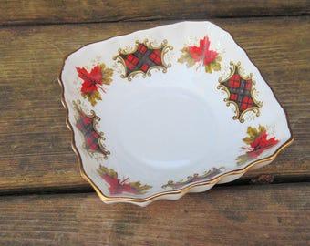 Scottish Decor. Scotland. Ridgway Potteries. Royal Adderley. Maple Leaf. Tartan Plaid. Tidbit. Dish. Bowl. 1960s Decor. Bone China. Dish