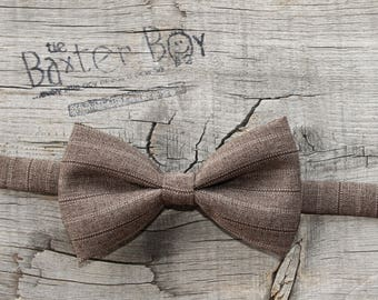 Brown pinstripe polyester little boy bow tie - photo prop, wedding, ring bearer, accessory