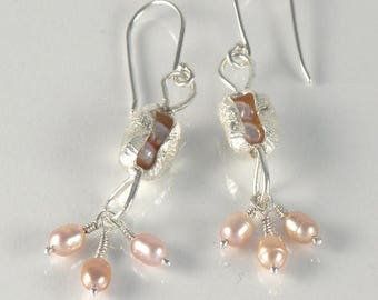 Pink Pearl Earrings, Sterling Silver Dangle Earrings Romantic Gift For Girlfriend, Pearl Jewelry, Bridal Earring, Pearl Pod Earrings