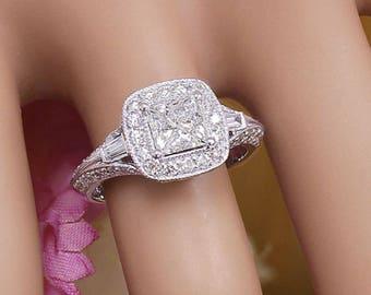 14k White Gold Princess Cut Moissanite and Diamond Engagement Ring Halo Deco Antique Style, Bridal, Wedding, Prong Set,  1.70ctw