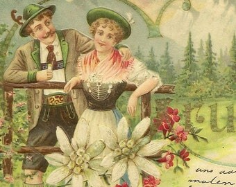 Stunning Embossed Antique Postcard GRUSS (Greetings) Mountain Couple Country Home in the Mountains and Wonderful Florals 1903 UDB