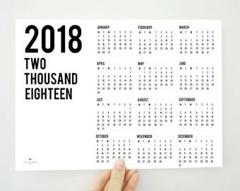 Year on the Top Yearly Calendar, 2018 Printable Calendar, 2018 Calendar, Yearly Planner, 2018 Planner, Gift for Colleagues, PDF Calendar