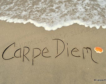 CARPE DIEM, Seize the Day, Writing in the Sand, Instant Download