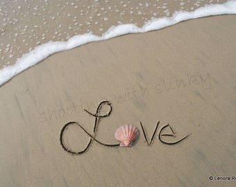 LOVE, Shell, Writing in the Sand, Instant Download