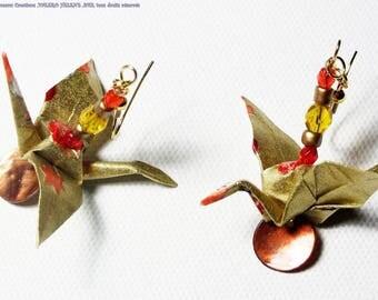 Earrings golden cranes, Japanese paper, ORIGAMI
