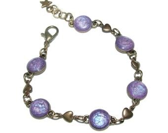 Iridescent purple cabochons bracelet, purple hearts, antique