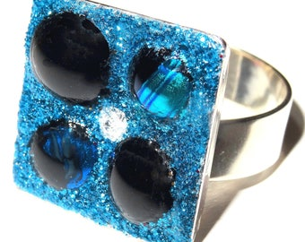 Square ring, blue dichroic glass cabochons changing, 2 tones, black glass, rhinestones crystal and sequins blue sky, bright,