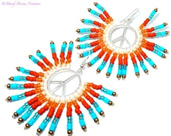 Peace and love Mexican sun earrings, bright, in Czech rockery
