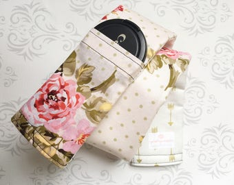 Camera Strap Cover with Lens Cap Pocket, Reversible, Padded, Photographer Gift, Canon, Nikon, Wedding Photog - Vintage Floral & Gold Arrows