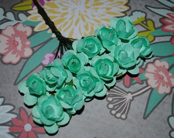 Paper flowers-AQUA----24 Beautiful paper flowers