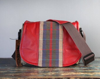 Red Plaid Tartan Leather Camera Satchel Bag DSLR - IN-STOCK